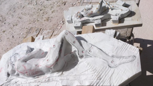 work in progress.  two times clay model in Carrara statuario puro bianco