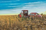 Abandoned vehicles on the prairie in Alberta. Very typical Alberta and prairie scene.