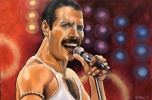 """Freddie Mecury, frontman of the band Queen. A piece I did recently for a solo art exhibit relating to 50 years of British Invasion in music. In coordination with a musical performance """"Across the Pond"""" at Theatre Orangeville in Feb 2019."""
