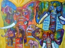 Colourful Elephant Family, a whimsical painting from my imagination. 18 x 24 Original  Contact  clairebullart@gmail.com for purchase.