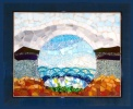 A quiet, reflectful scene - fused glass, recycled glass on silvered glass.