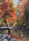 A fisherman casting his line in one of our beautiful Ontario rivers near Thornbury. While enjoying the vivid fall colours.