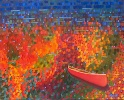 Iconic Canadian canoe in fall colours.