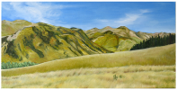 Rugged hill country in Nort Canterbury, New Zealand