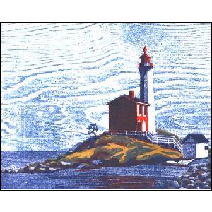 Fisgard Lighthouse is a  woodcut hand printed on Japanese paper in a limited edition of 16.Fisgard lighthouse was built in 1860 at the entrance to Esquimalt harbour.
