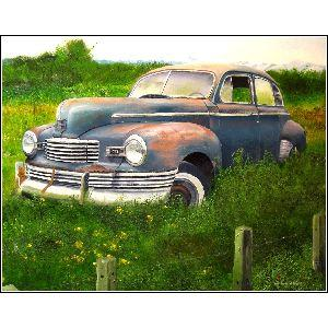 1947 Nash Ambassador Deluxe. Trunk-back, 6 cylinder - A post-war Nash sedan rests peacefully near an East Kootenays British Columbia roadside, before being destroyed in the forest fires of 2003.   This painting was chosen for the
